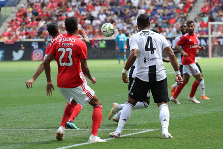 HARRISON, NJ - JULY 28, 2018: Medhi Benatia #4 of Juventus in action in against Benfica during 2018 International Champions Cup tournament soccer match at Red Bull Stadium