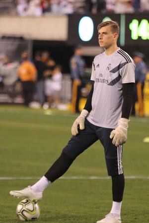EAST RUTHERFORD, NJ - AUGUST 7, 2018: Andriy Lunin new goalkeeper of Real Madrid  during warm up before Real Madrid vs Roma match in the 2018 International Champions Cup at MetLife stadium. Real Madrid won 2-1