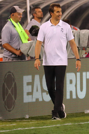 EAST RUTHERFORD, NJ - AUGUST 7, 2018: Julen Lopetegui manager of Real Madrid attends 2018 International Champions Cup game Real Madrid vs Roma at MetLife stadium