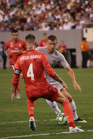 EAST RUTHERFORD, NJ - AUGUST 7, 2018: Captain and centre back Sergio Ramos of Real Madrid #4 in action during the 2018 International Champions Cup match against Roma at MetLife stadium.