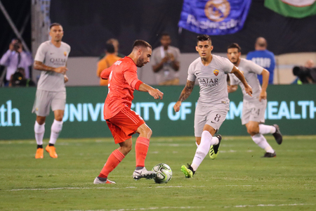 EAST RUTHERFORD, NJ - AUGUST 7, 2018: Dani Carvajal of Real Madrid #2 in action during the 2018 International Champions Cup match against Roma at MetLife stadium. Real Madrid won 2-1 報道画像