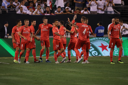 EAST RUTHERFORD, NJ - AUGUST 7, 2018: Team Real Madrid celebrates goal during the 2018 International Champions Cup match against Roma at MetLife stadium. Real Madrid won 2-1