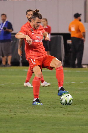 EAST RUTHERFORD, Nj - 7 augustus 2018: Gareth Bale van Real Madrid # 11 in actie tijdens de wedstrijd tegen Roma in de International Champions Cup 2018 in MetLife Stadium. Real Madrid won met 2-1