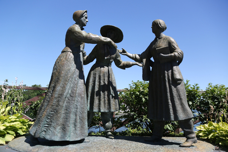 Women's rights monument in Seneca Falls, Upstate New York. Sculpture depicting May 1851 meeting of Elizabeth Cady Stanton and Susan B. Anthony. Seneca Fall, NY birthplace of the women's right movement