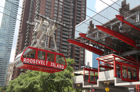 NEW YORK - AUGUST 9, 2018: The famous Roosevelt Island Tramway that spans the East River and connects Roosevelt Island to the Upper East Side of Manhattan