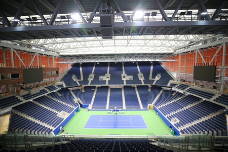 NEW YORK - AUGUST 20, 2018: The new, roofed Louis Armstrong stadium is set to debut at 2018 U.S. Open at the Billie Jean King National Tennis Center in Flushing, New York 新聞圖片