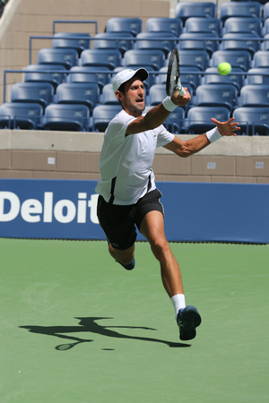 NEW YORK - AUGUST 22, 2018: 13-time Grand Slam champion Novak Djokovic of Serbia practices for the 2018 US Open at Billie Jean King National Tennis