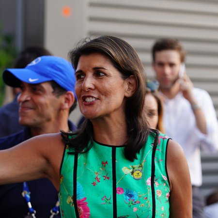 NEW YORK - AUGUST 27, 2018: United States Ambassador to the United Nations Nikki Haley attends 2018 US Open day session at USTA Billie Jean King National Tennis Center in New York
