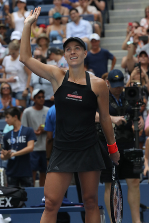 NEW YORK - AUGUST 30, 2018: Grand Slam champion Angelique Kerber of Germany celebrates victory after her 2018 US Open second round match at Billie Jean King National Tennis Center