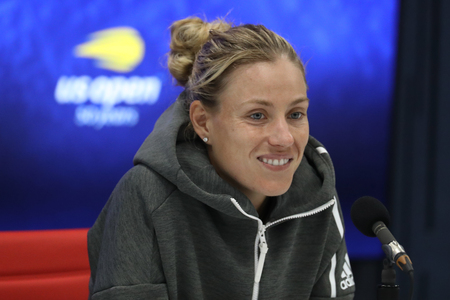NEW YORK - AUGUST 30, 2018: Grand Slam champion Angelique Kerber of Germany during press conference after her 2018 US Open second round match at Billie Jean King National Tennis