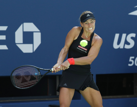 NEW YORK - AUGUST 30, 2018: Grand Slam champion Angelique Kerber of Germany in action during her 2018 US Open second round match at Billie Jean King National Tennis Center