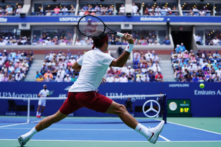 NEW YORK - AUGUST 30, 2018: 20-time Grand Slam champion Roger Federer of Switzerland in action during his second round 2018 US Open match at Billie Jean King National Tennis Center