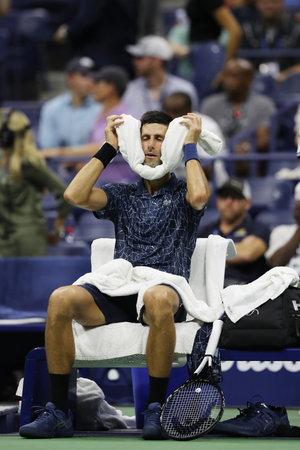NEW YORK - SEPTEMBER 5, 2018: 13-time Grand Slam champion Novak Djokovic of Serbia in action during his 2018 US Open quarter-final match at Billie Jean King National Tennis Center