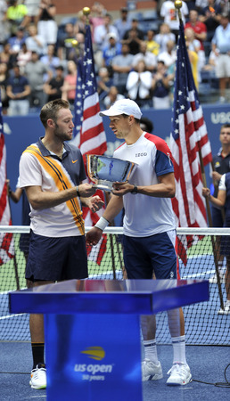 NEW YORK - SEPTEMBER 7, 2018: 2018 US Open men' doubles champions Jack Sock  (L) and Mike Brian of United States during trophy presentation at the Billie Jean King National Tennis Center