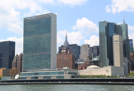 NEW YORK CITY - AUGUST 9, 2018: The United Nations building in Manhattan, New York. The complex has served as the official headquarters of the United Nations since its completion in 1952