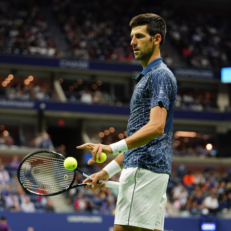 NEW YORK - SEPTEMBER 7, 2018: 13-time Grand Slam champion Novak Djokovic of Serbia in action during his 2018 US Open semi-final match at Billie Jean King National Tennis Center Editorial