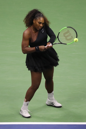 NEW YORK - SEPTEMBER 8, 2018: 23-time Grand Slam champion Serena Williams in action during her 2018 US Open final match against Naomi Osaka at Billie Jean King National Tennis Center Editorial