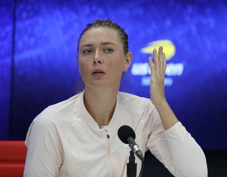 NEW YORK - SEPTEMBER 3, 2018: Five times Grand Slam Champion Maria Sharapova of Russia during press conference after her 2018 US Open  round of 16 match at Billie Jean King National Tennis Center
