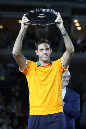 NEW YORK - SEPTEMBER 9, 2018: 2018 US Open finalist Juan Martin del Potro of Argentina posing with US Open finalist trophy during trophy presentation after his final match against Novak Djokovic