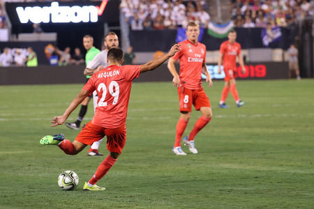 EAST RUTHERFORD, NJ - AUGUST 7, 2018: Sergio Reguilon of Real Madrid #29 in action during the 2018 International Champions Cup match against Roma at MetLife stadium. Real Madrid won 2-1