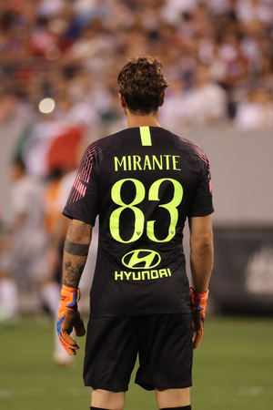 EAST RUTHERFORD, NJ - AUGUST 7, 2018: Goalkeeper Antonio Mirante #83 of Roma in action against Real Madrid during 2018 International Champions Cup game at MetLife stadium