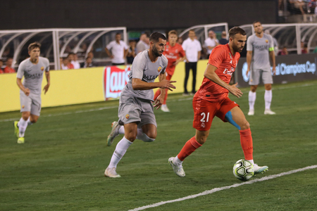 EAST RUTHERFORD, NJ - AUGUST 7, 2018: Borja Mayoral of Real Madrid #21 in action against Roma in the 2018 International Champions Cup match at MetLife stadium. Real Madrid won 2-1