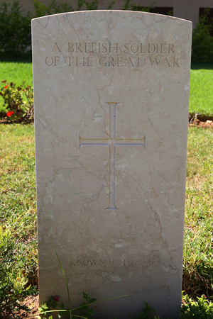 BEERSHEBA, ISRAEL - SEPTEMBER 24, 2018: A British soldier of the Great War. Gravestone of unidentified soldier at the Beersheba War Cemetery with 1,241 Commonwealth burials of the Great War