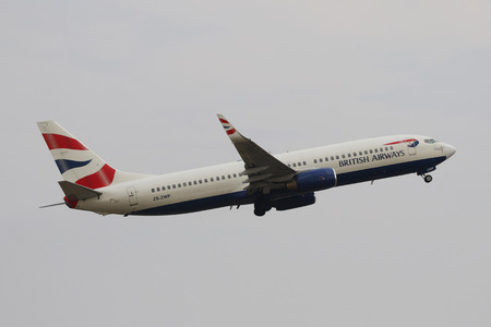 JOHANNESBURG, SOUTH AFRICA - SEPTEMBER 27, 2018: British Airways Boeing 737 takes off from O. R. Tambo International Airport in Johannesburg, South Africa Editorial