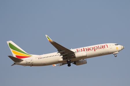 JOHANNESBURG, SOUTH AFRICA - SEPTEMBER 27, 2018: Ethiopian Airlines Boeing 737 takes off from O. R. Tambo International Airport in Johannesburg, South Africa Redakční