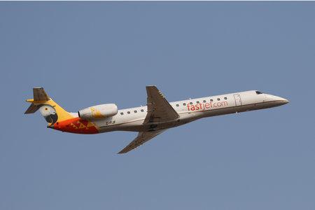 JOHANNESBURG, SOUTH AFRICA - SEPTEMBER 27, 2018: FastJet Zimbabwe Embraer ERJ-145LR takes off from O. R. Tambo International Airport in Johannesburg, South Africa