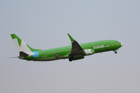 JOHANNESBURG, SOUTH AFRICA - SEPTEMBER 27, 2018: Kulula.com airline Boeing 737 takes off from O. R. Tambo International Airport in Johannesburg, South Africa Editorial