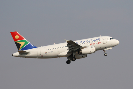 JOHANNESBURG, SOUTH AFRICA - SEPTEMBER 27, 2018: South African Airways Airbus A319 takes off from O. R. Tambo International Airport in Johannesburg, South Africa