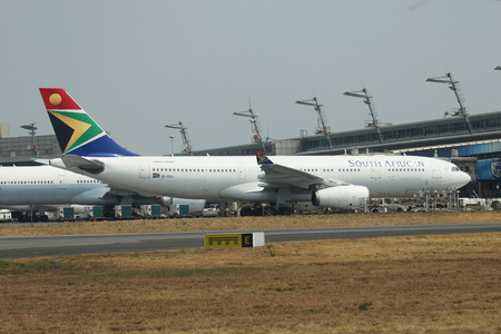 JOHANNESBURG, SOUTH AFRICA - SEPTEMBER 27, 2018: South African Airways  Airbus 330 on tarmac at O. R. Tambo International Airport in Johannesburg, South Africa