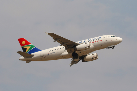JOHANNESBURG, SOUTH AFRICA - SEPTEMBER 27, 2018: South African Airways Airbus A319 takes off from O. R. Tambo International Airport in Johannesburg, South Africa Editorial