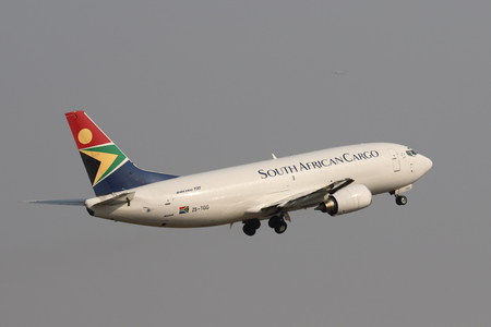 JOHANNESBURG, SOUTH AFRICA - SEPTEMBER 27, 2018: South African Airways Cargo Boeing 737 takes off from O. R. Tambo International Airport in Johannesburg, South Africa