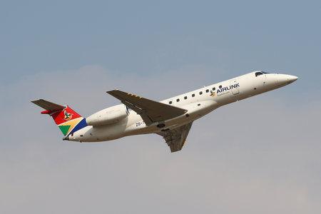 JOHANNESBURG, SOUTH AFRICA - SEPTEMBER 27, 2018: Airlink Embraer ERJ-135ER takes off from O. R. Tambo International Airport in Johannesburg, South Africa