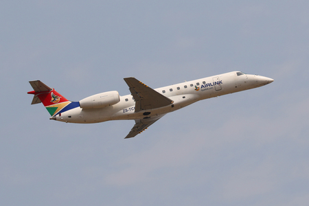 JOHANNESBURG, SOUTH AFRICA - SEPTEMBER 27, 2018: Airlink Embraer ERJ-135ER takes off from O. R. Tambo International Airport in Johannesburg, South Africa Editorial