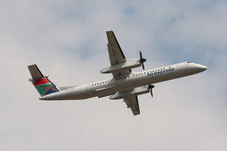 JOHANNESBURG, SOUTH AFRICA - SEPTEMBER 27, 2018: South African Express Airways Bombardier DHC-8 takes off from O. R. Tambo International Airport in Johannesburg, South Africa Editorial