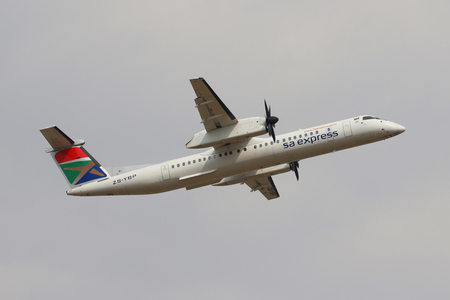 JOHANNESBURG, SOUTH AFRICA - SEPTEMBER 27, 2018: South African Express Airways Bombardier DHC-8 takes off from O. R. Tambo International Airport in Johannesburg, South Africa