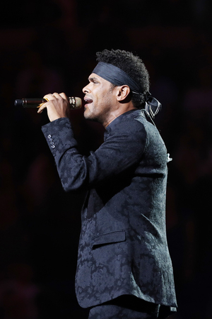 NEW YORK - AUGUST 27, 2018: American singer and songwriter Maxwell sings National Anthem at the 2018 US Open opening night ceremony at National Tennis Center in New York