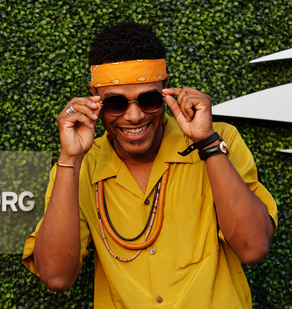 NEW YORK - AUGUST 27, 2018: American singer and songwriter Maxwell and 2018 US Open Opening Ceremony National Anthem Singer at opening night ceremony at National Tennis Center in New York