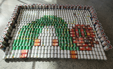 UNIONDALE, NEW YORK - OCTOBER 30, 2018: Food sculpture presented at 12th Annual Long Island Canstruction competition in Uniondale. Teams build large scale sculptures out of canned food for food drive Editorial