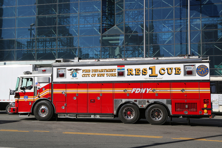 NEW YORK CITY- OCTOBER 25, 2018: New York City Fire Department Rescue Company 1 in Lower Manhattan . FDNY is the largest combined Fire and EMS provider in the world