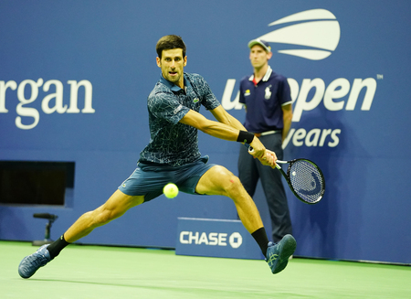 NEW YORK - SEPTEMBER 7, 2018: 13-time Grand Slam champion Novak Djokovic of Serbia in action during his 2018 US Open Round of 32 match at Billie Jean King National Tennis Center