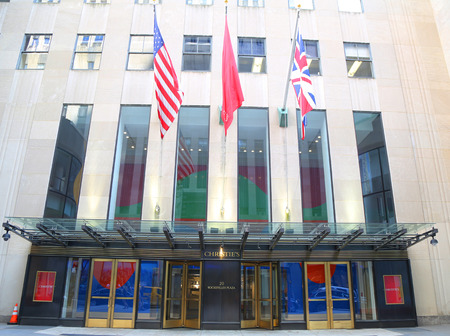 NEW YORK CITY - AUGUST 8, 2018: Christie's main headquarters at Rockefeller Plaza in New York. Christie's is the world's largest art business and a fine arts auction house
