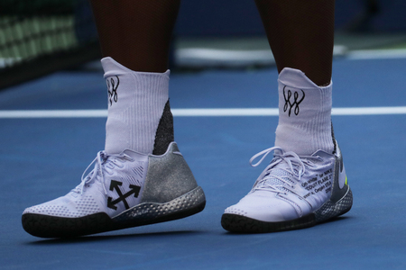 NEW YORK - SEPTEMBER 2, 2018: 23-time Grand Slam champion Serena Williams wears custom Nike tennis shoes during her 2018 US Open round of 16 match at Billie Jean King National Tennis Center