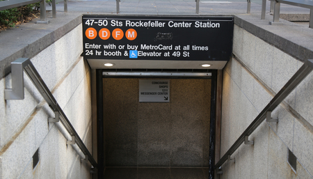 NEW YORK - AUGUST 9, 2018: 47-50 Streets Rockefeller Center Subway Station in NYC. Owned by the NYC Transit Authority, the subway system has 469 stations in operation