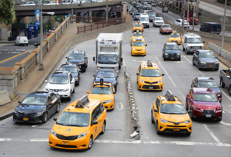 NEW YORK CITY - AUGUST 9, 2018: New York City Taxi in Manhattan. New York City has around 6,000 hybrid taxis, representing almost 45 of the taxis in service, the most in any city in North America