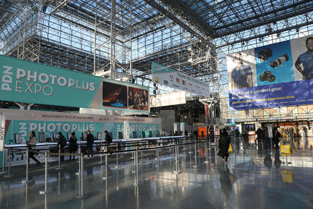 NEW YORK - OCTOBER 25, 2018: Registration area at PDN Photoplus conference and expo at Javits Convention Center in New York