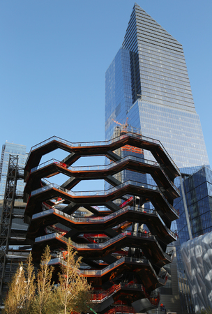 NEW YORK - OCTOBER 25, 2018: Vessel, the centerpiece of the Public Square and Gardens at Hudson Yards, in construction on Manhattan's West Side, marking the start of construction of this new landmark Editorial